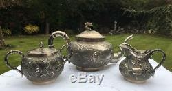 Antique Chinese Export Three Piece Tea Set TUCK CHANG (R2758)