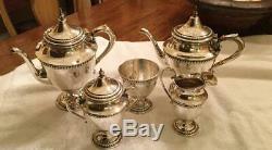 Antique Ellmore Silver Co. Sterling Silver 5 Piece Tea Set
