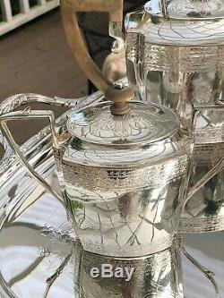 Antique English Art Deco 7 Piece Silver-plate Coffee & Tea Set wi Water/tea Urn