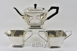 Antique English Art Deco Silver Plated 3 Piece Tea Set, c1935