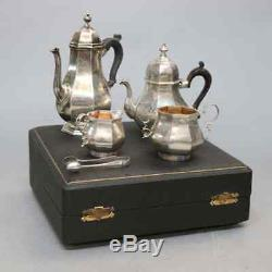 Antique English Regency Sterling Silver Tea Set, Hallmarked, 19th Century