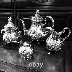 Antique FERNER 4 Piece Sterling Silver TEA SET 1475 grams