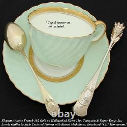 Antique French 18K Gold Vermeil on Sterling Silver 13p Tea Set, Teaspoons & Tong