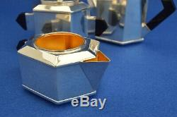 Antique French Art Deco Silver Plate Tea set Teapot Milk Jug Sugar