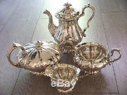 Antique Georgian William IV Irish Silver Melon 4 Piece Coffee Tea Set Full Size