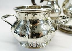 Antique Italian Solid Silver Tea Set Battuto a Mano Sugar Bowl Jug 800 sterling