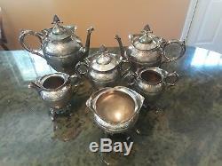 Antique Meriden B Co Silverplate 6 Pcs. Victorian Coffee Tea Server Set 1893 1/2