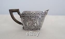 Antique Repousse 20th Cent Dutch Silver `BACHELORS TEA SET`, 1060 gm
