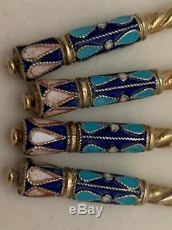 Antique Russian Enamel Cloisonne Gilded 84 Silver Set of 4 Tea Spoons