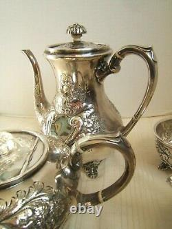 Antique Sheffield Hand Chased Tea Set Very Pretty 5 Piece