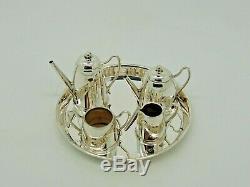 Antique Silver Miniature Tea set and Tray Birmingham 1971 Bishton's Ltd