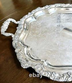 Antique Silver on Copper Coffee Tea Set Shell Pattern 30.5 Tray