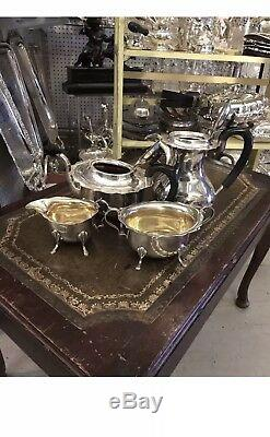 Antique Sterling Solid Silver 4 Piece Teaset Teapot Suger Bowl Coffee Jug Cup