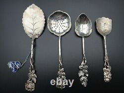 Antique Vintage Fantastic Tea Silver Tea Strainer Set