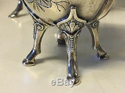 Antique Wilcox Silver Plated 5 Piece Tea Set with Bird In Nest Finial & Hoof Feet
