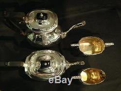 Antique solid silver Irish 4pc Tea & coffee set