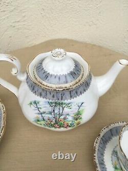 Antique1950's Royal Albert Bone China Tea Set England Silver Birch18 pc