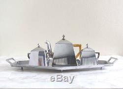 Art Deco Angular Silver Tea Service Antique 1920s Vintage Bauhaus Tea Set