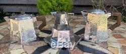 Art Deco Arts & Crafts Hammered 5 Pce Silver Plated Tea Set Knox Liberty Dresser