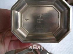 Art Deco FAIRFAX By Durgin/Gorham Sterling Silver 4-Piece Coffee / Tea Set Gilt