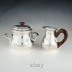 Art Deco French Sterling Silver 4pc Tea & Coffee Set, Teapot & Coffee Pot