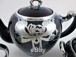 Art Deco LENOX 3pc TEA Set SILVER OVERLAY on COBALT + infuser (1906-1930)