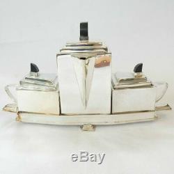 Art Deco Silver Tea Set Coffee Set Ebonised Wood Architectural