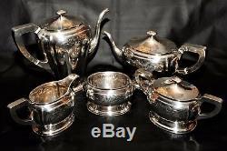 Art Nouveau 1911-1919 Hand Wrought Sterling Silver Tea/Coffee Set Service RARE