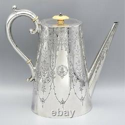 Atkin Brothers Sheffield Antique Victorian Sterling Silver Tea & Coffee Set of 4