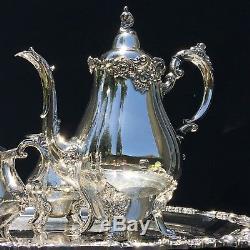 Baroque By Wallace Silverplated Tea Set Coffee, Tea, Sugar, Creamer, Tray