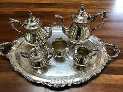 Baroque Tea & Coffee Set by Wallace 6 piece Vintage Siverplate Set