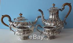 Birks sterling silver 4 pc tea coffee set George III Melon 66.72 Tr. Oz. 2079 gr