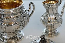 Boivin Fabulous French Sterling Silver 18k Gold Tea Coffee Set 4 pc Bacchus
