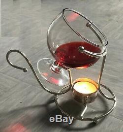 Brandy Warmer Set with Glass Brandy Cognac Snifter Silver with Tea light Bar Pub
