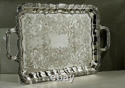 British Silver Tea Set Tray c1920 SIGNED