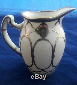 C1890 Art Nouveau 3 Piece Lenox Sterling Silver Overlay Tea Set