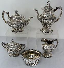 CHANTILLY GRAND BY GORHAM FIVE PIECE STERLING COFFEE & TEA SET, Mono