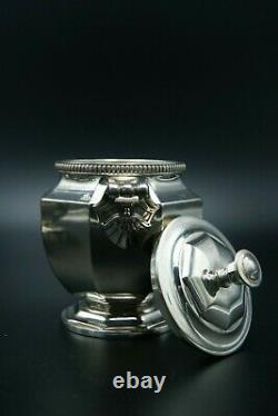 CHRISTOFLE GALLIA SILVERPLATED TEA COFFEE EBONY SERVICE SET 3p ART DECO FRANCE