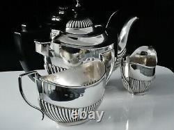 Cased Antique Silver Bachelor Tea Set, Joseph Gloster, Birmingham 1897
