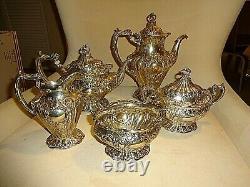 Chantilly Grand By Gorham Five Piece Sterling Coffee & Tea Set, No Mono