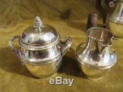 Charming french sterling silver 950 tea coffee set 4p Louis XVI st single serve
