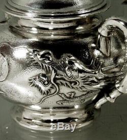 Chinese Export Silver Dragon Tea Set c1890 Tuckchang