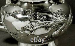 Chinese Export Silver Dragon Tea Set c1890 YOK SANG