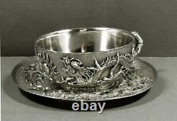Chinese Export Silver Tea Set Dragons in Flames