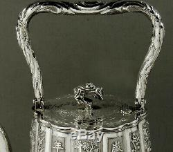 Chinese Export Silver Tea Set Tea Kettle c1880 Luenwo