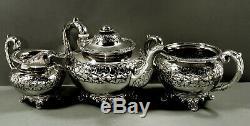 Chinese Export Silver Tea Set c1830 Yatshing 107 Ounces