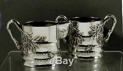 Chinese Export Silver Tea Set c1880 Luenwo, Shanghai