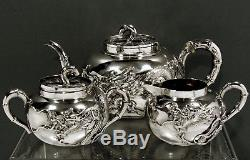 Chinese Export Silver Tea Set c1885 WANG HING ORIGINAL BOX