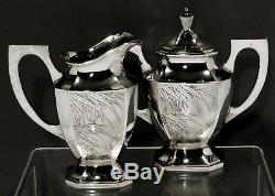 Chinese Export Silver Tea Set c1890 Nanking Silver 59 Ounces