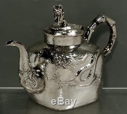 Chinese Export Silver Tea Set c1890 SIGNED DRAGON 42 OUNCES